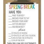 Printable Spring Break Rules