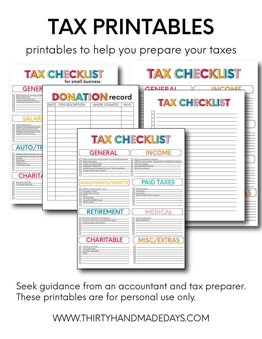 Tax printable forms from www.thirtyhandmadedays.com