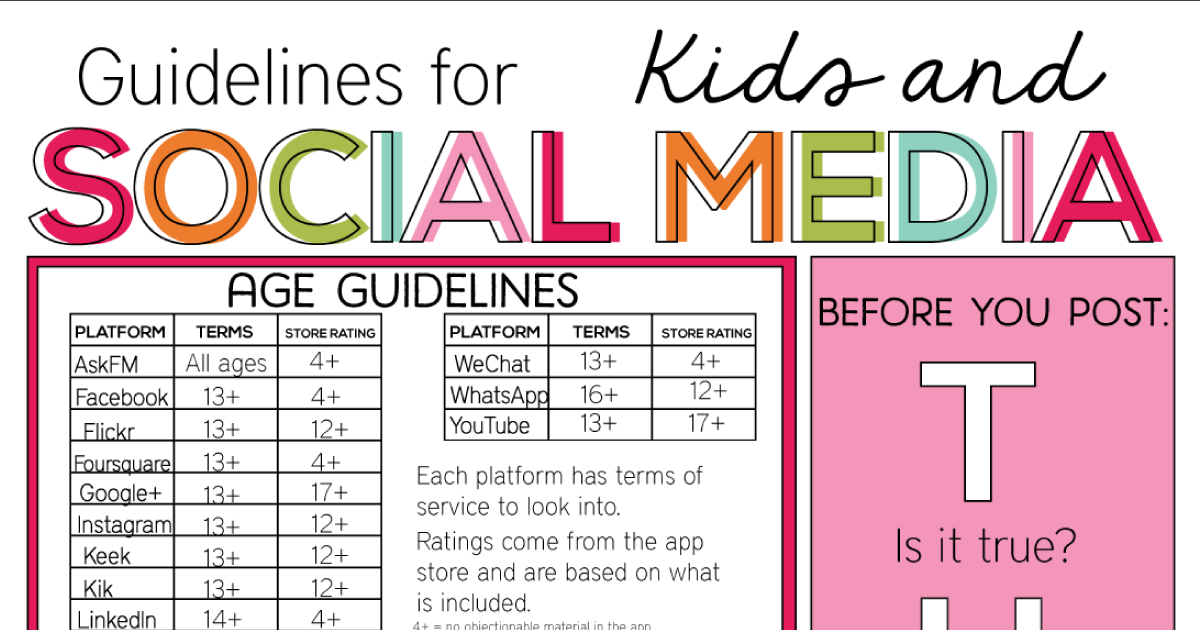 Media Guidelines For Kids Of All Ages >> Guidelines For Kids And Social Media
