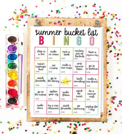 Summer Bucket List BINGO - use this as a guide for a fun summer with your kids!