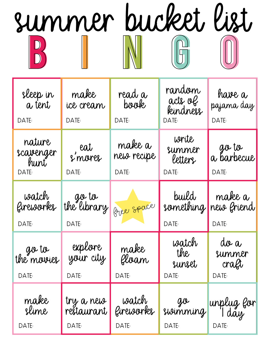 Printable Summer Bucket List BINGO