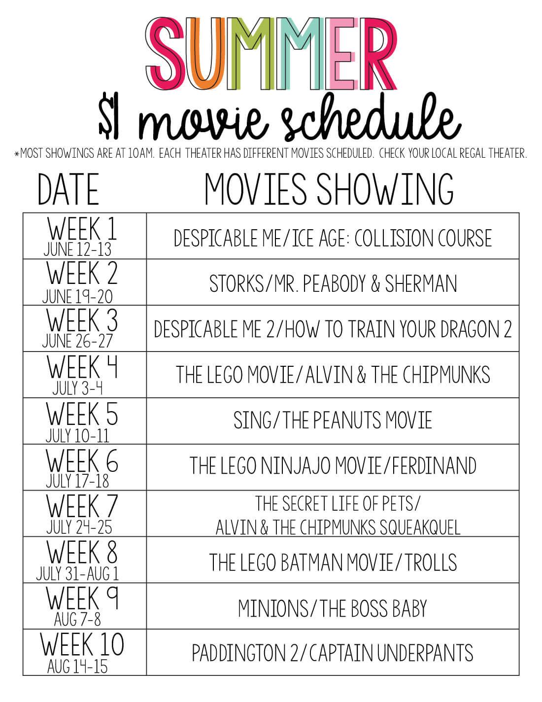 Printable Summer Movie Schedule for Summer Movie Express