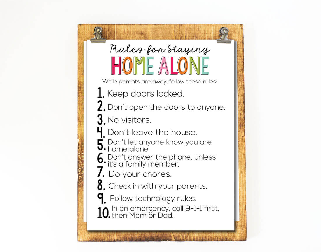 Rules for Staying Home Alone - guidelines and printable from www.thirtyhandmadedays.com