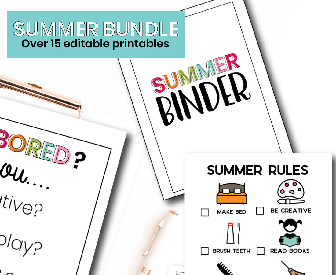 Printable Summer Bundle - with over 15 editable pages, you'll be set for summer!