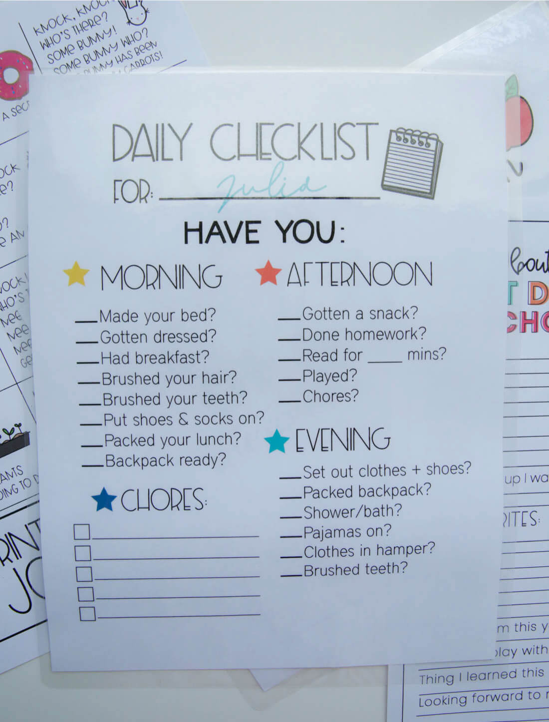 Kids Checklist Template from www.thirtyhandmadedays.com