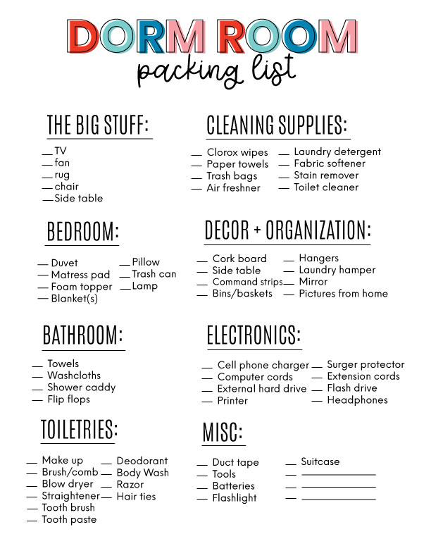 Dorm Packing List