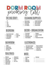 Dorm Room Ideas and Essentials - things you should prepare for with your college student. Printable list from www.thirtyhandmadedays.com