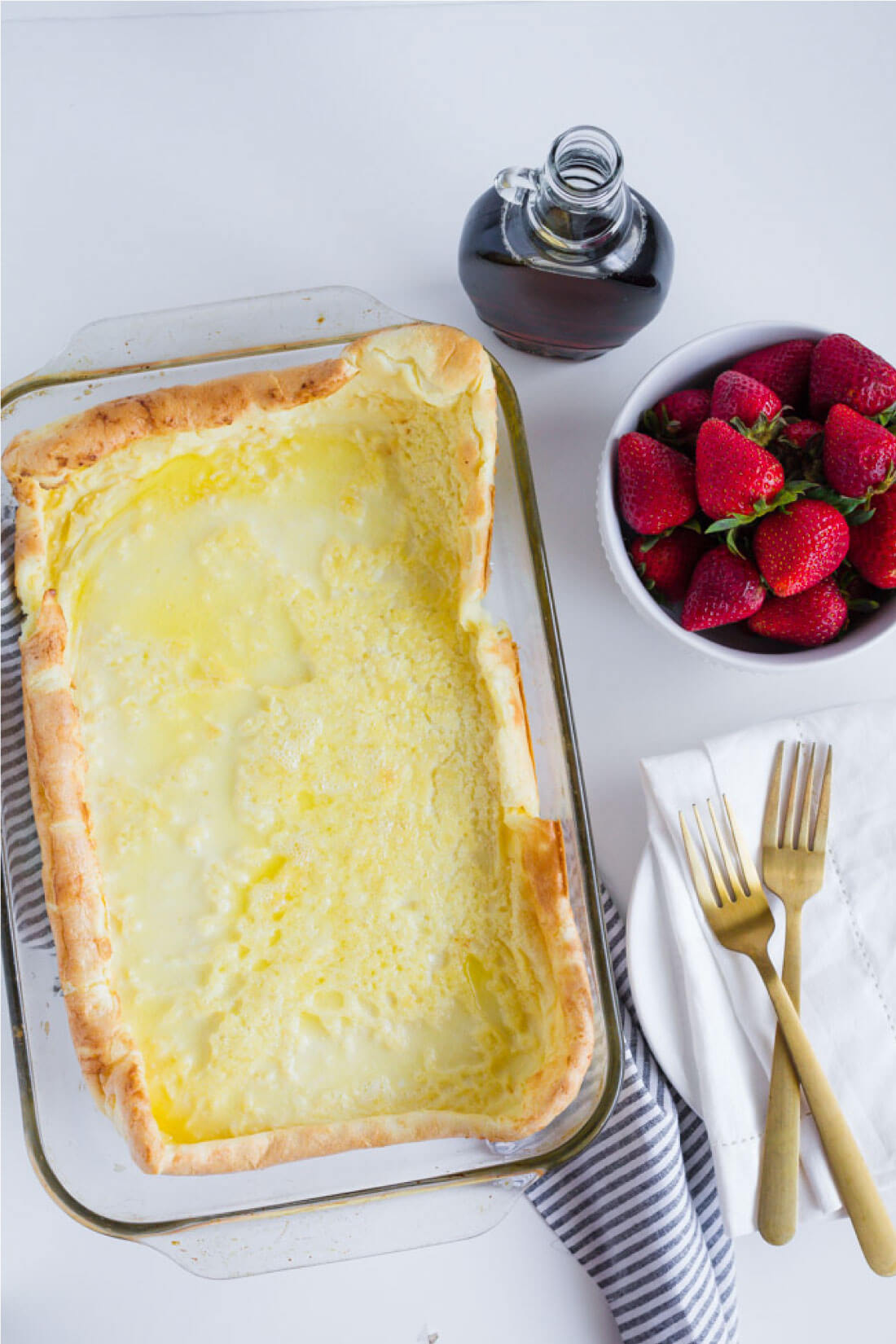 German Pancakes or Dutch Baby recipe - an old family favorite that we love to make for breakfast. Full pan.