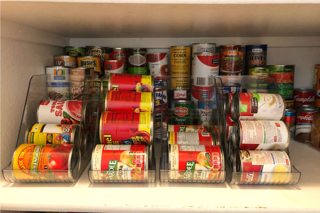 Pantry Organization Using Can Holders