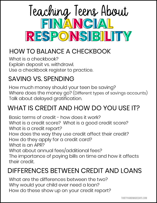Teaching Financial Responsibility to Teens Printable