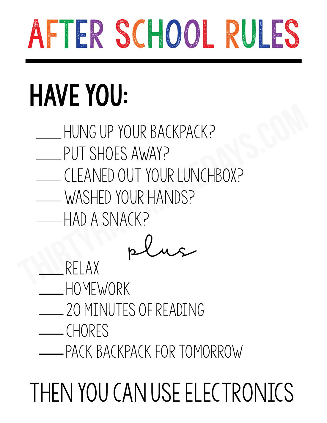Free Printable After School Rules