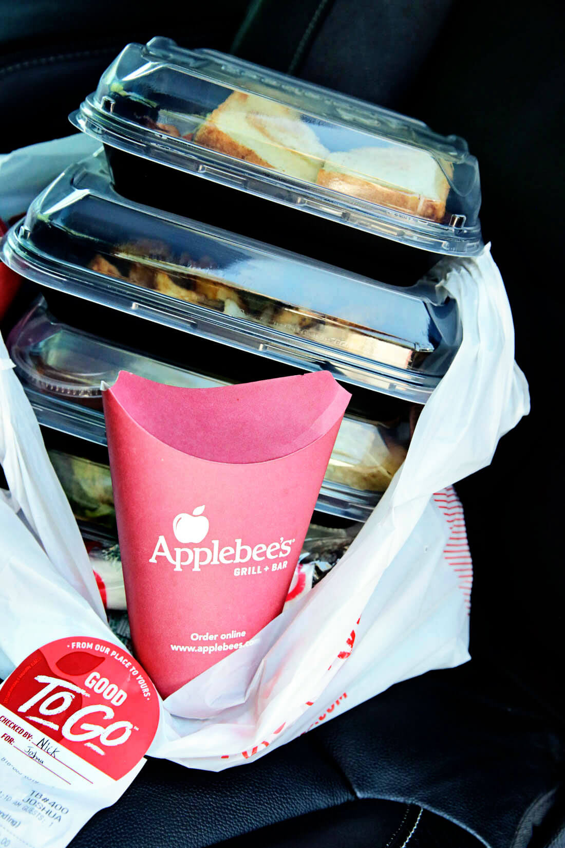 Our food from Applebee's Carside to Go