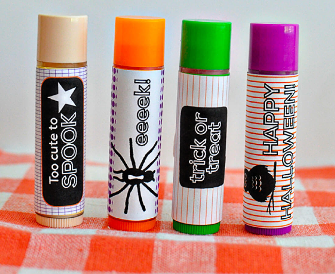 Halloween Printables: print out these wrappers for lip balms