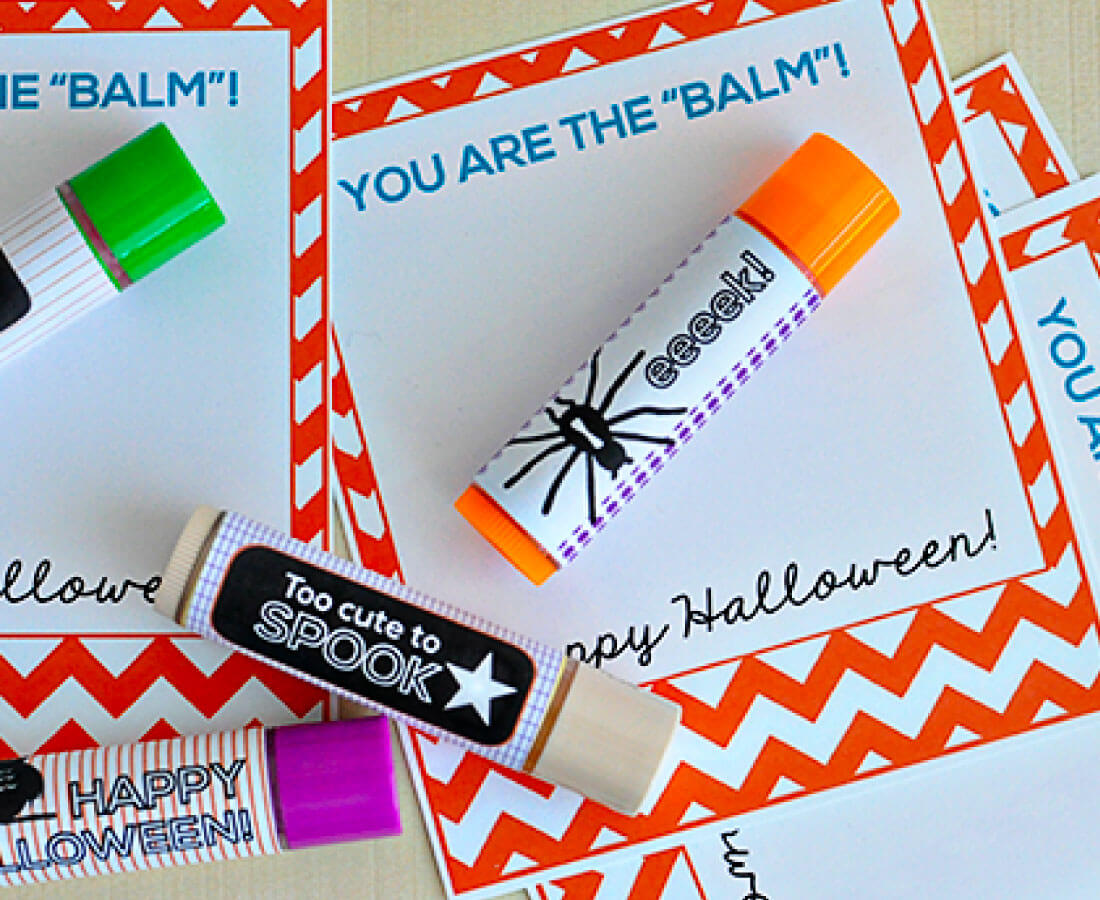 Halloween Printables: print out these cards for Halloween lip balm