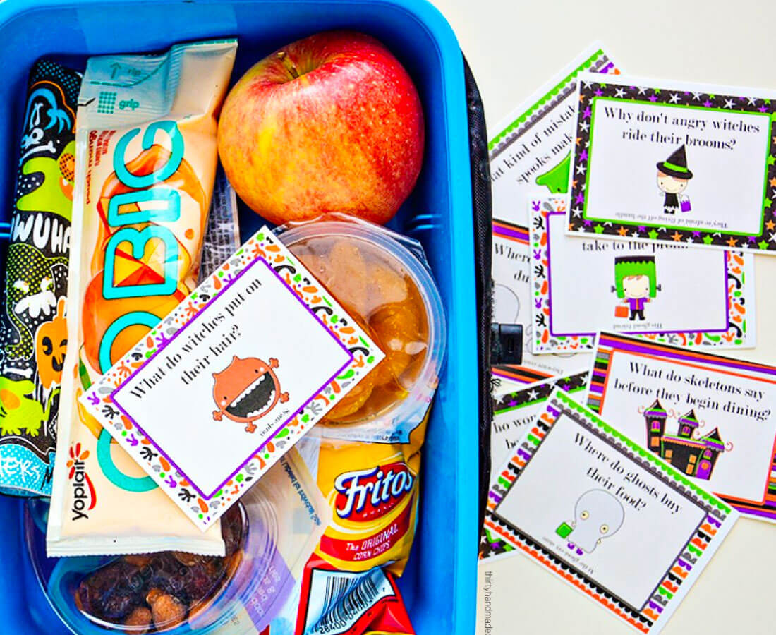 Halloween Printable: print out these joke lunch box notes