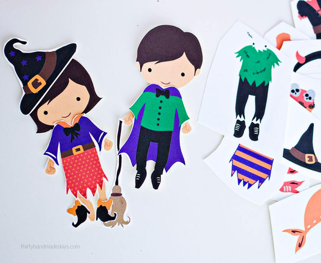 Halloween Printable: print out these Halloween dress up dolls