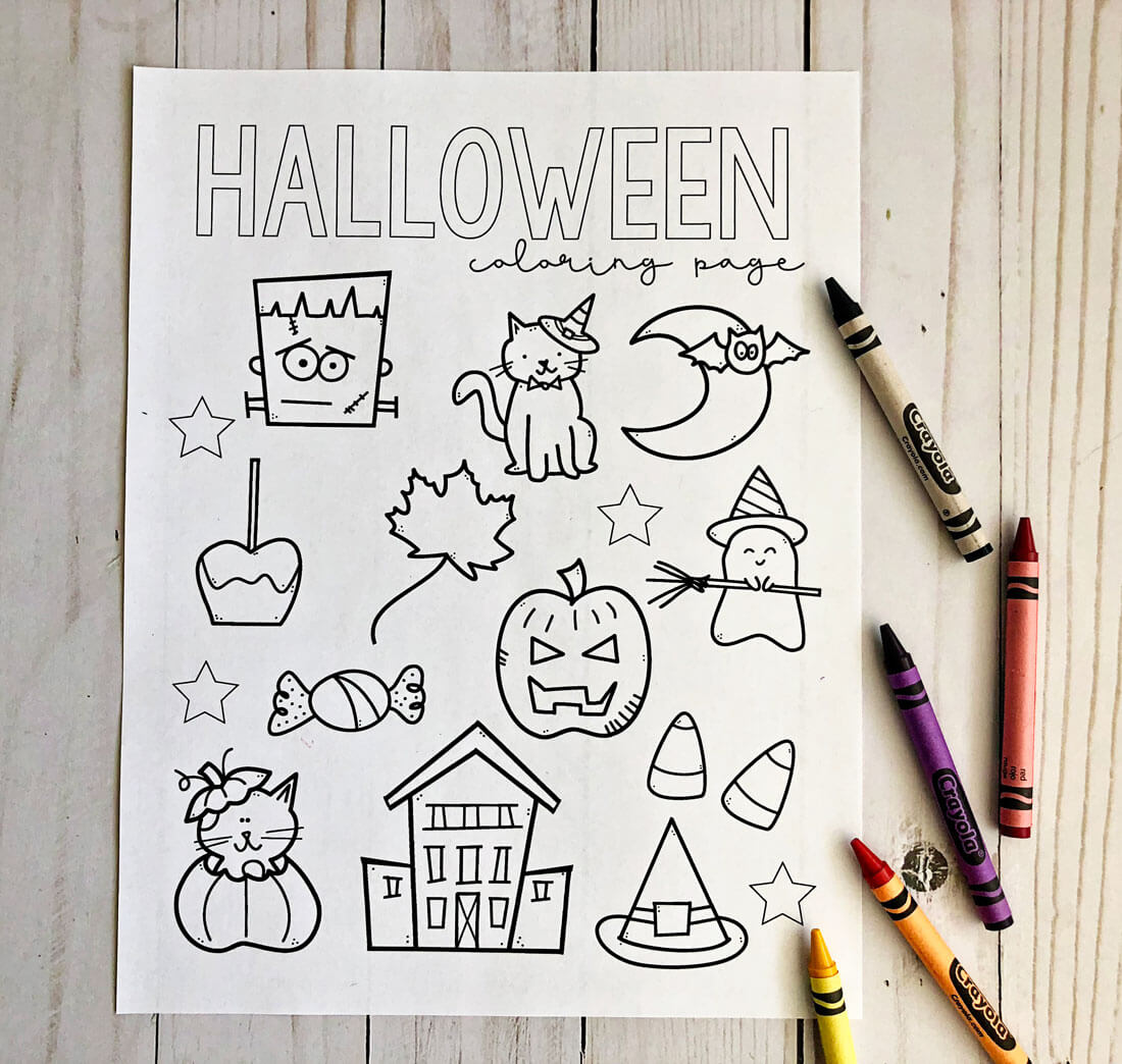 Free Printable Halloween Coloring Pages - download and fill in this cute sheet for the holiday! Not colored in.