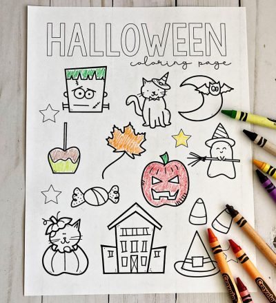 Free Printable Halloween Coloring Pages - download and fill in this cute sheet for the holiday!