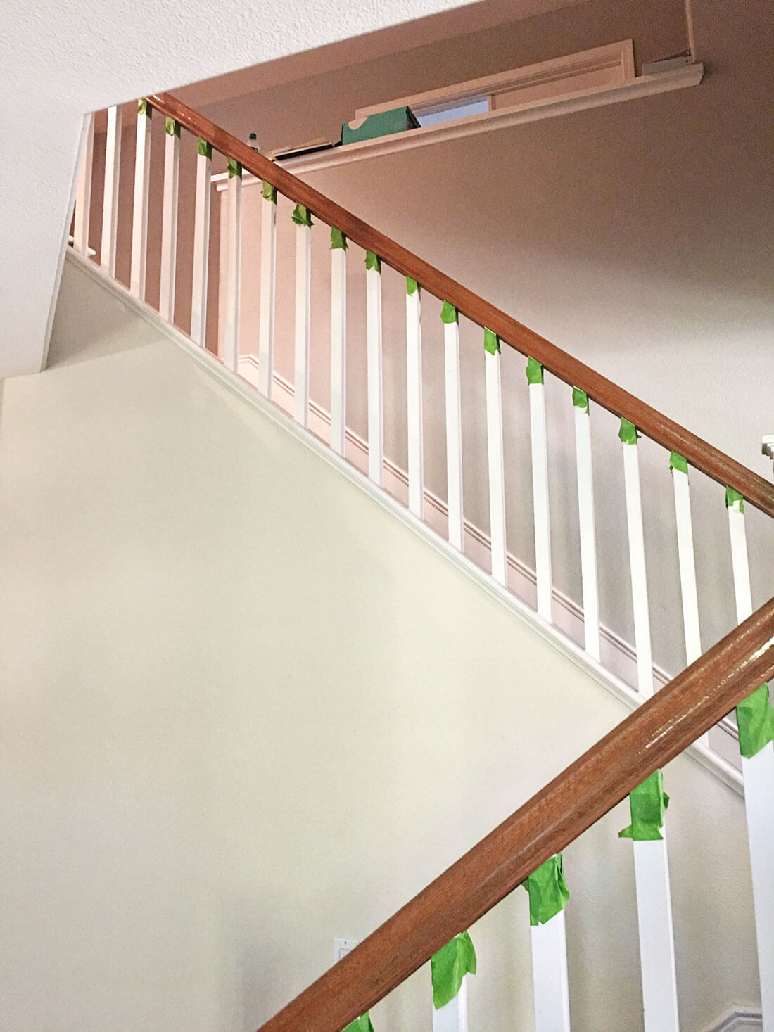 How to paint your stair railings and banister - taping and painting