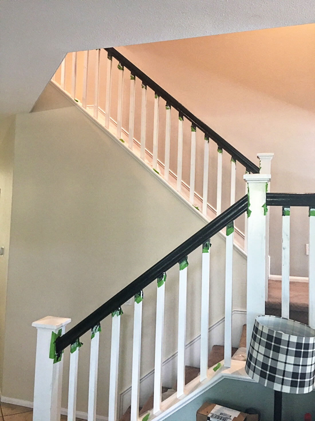How to paint your stair railings and banister - painting the spindles