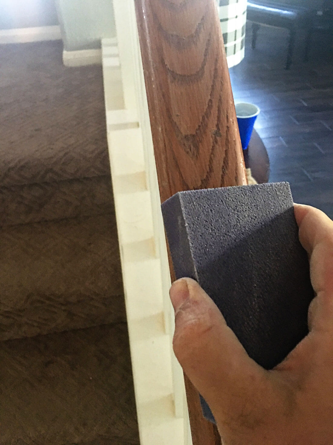 How to paint your stair railings and banister -sanding