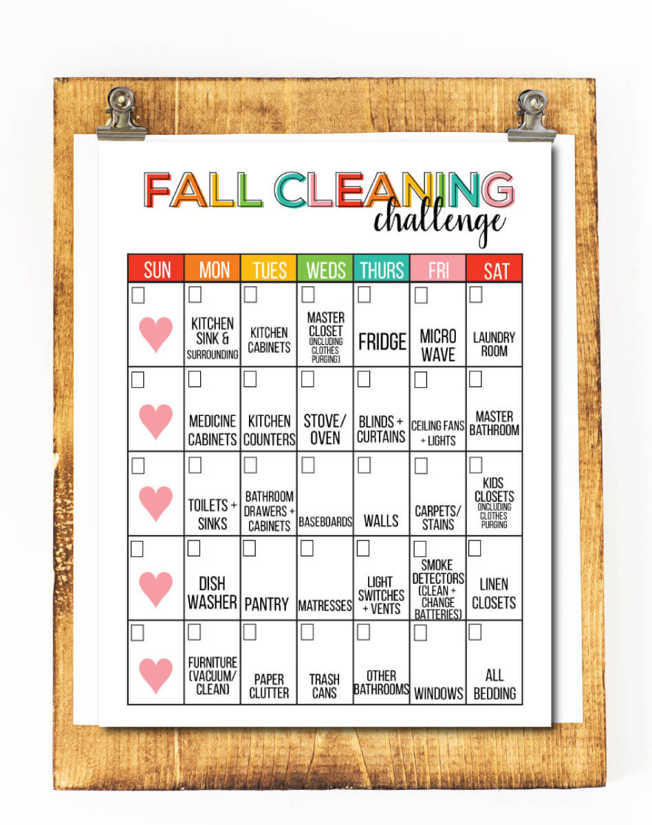 Fall Cleaning Challenge Printable from www.thirtyhandmadedays.com
