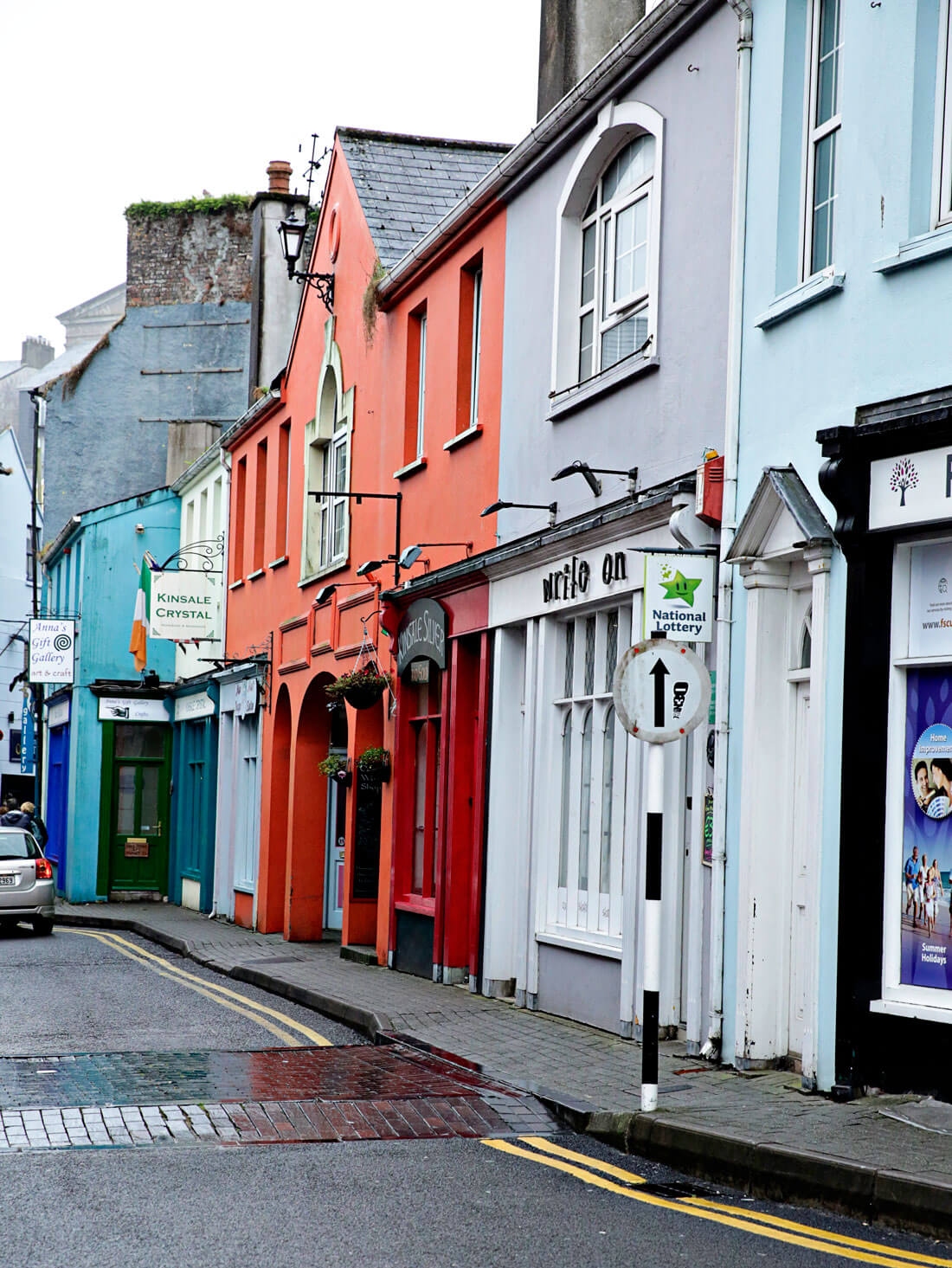 Beautiful bright colored buildings in Kinsale, Ireland