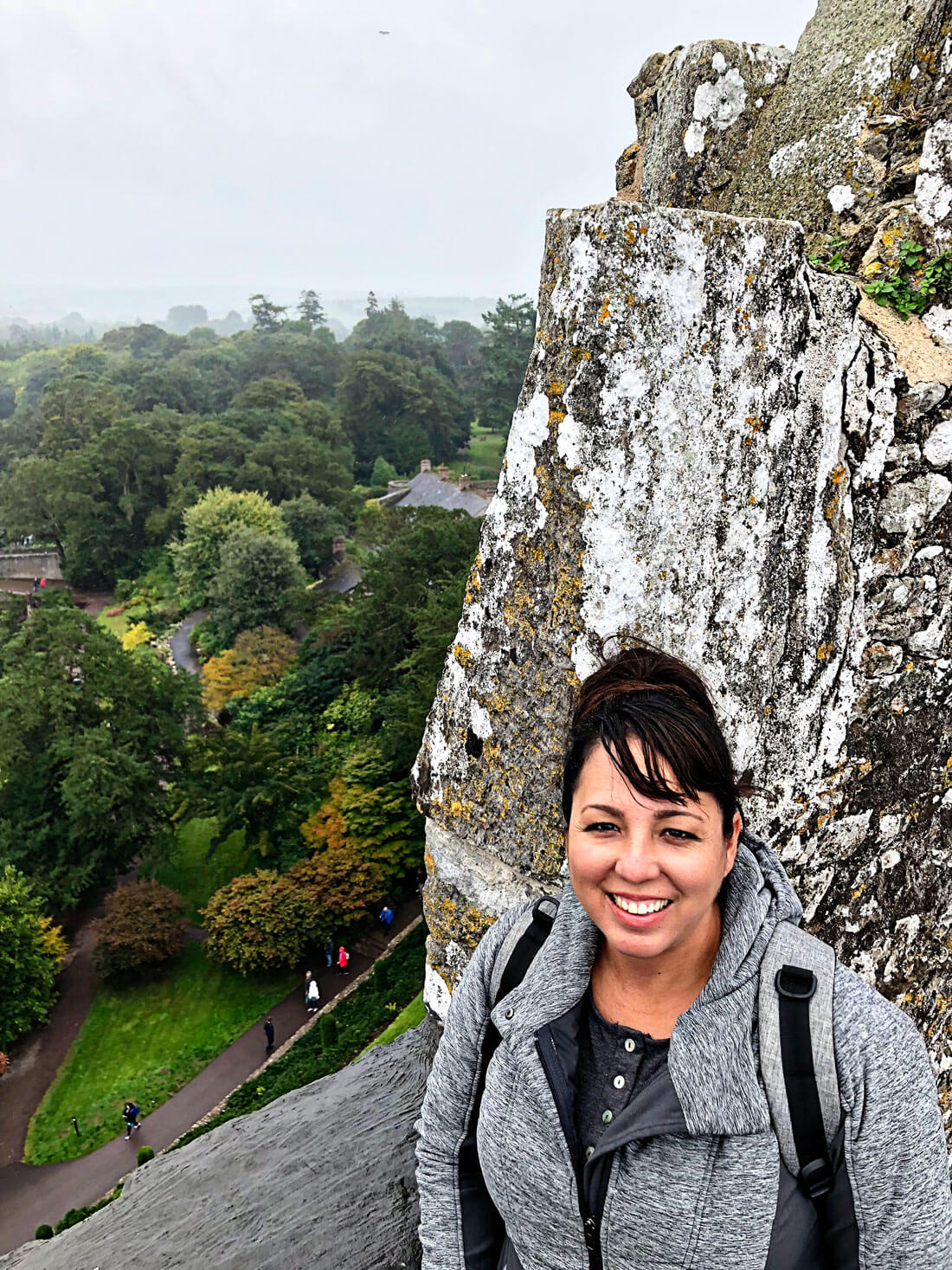 At the top of the Blarney Castle in Ireland