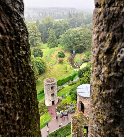 Visiting the Blarney Castle in Ireland, view on the way up