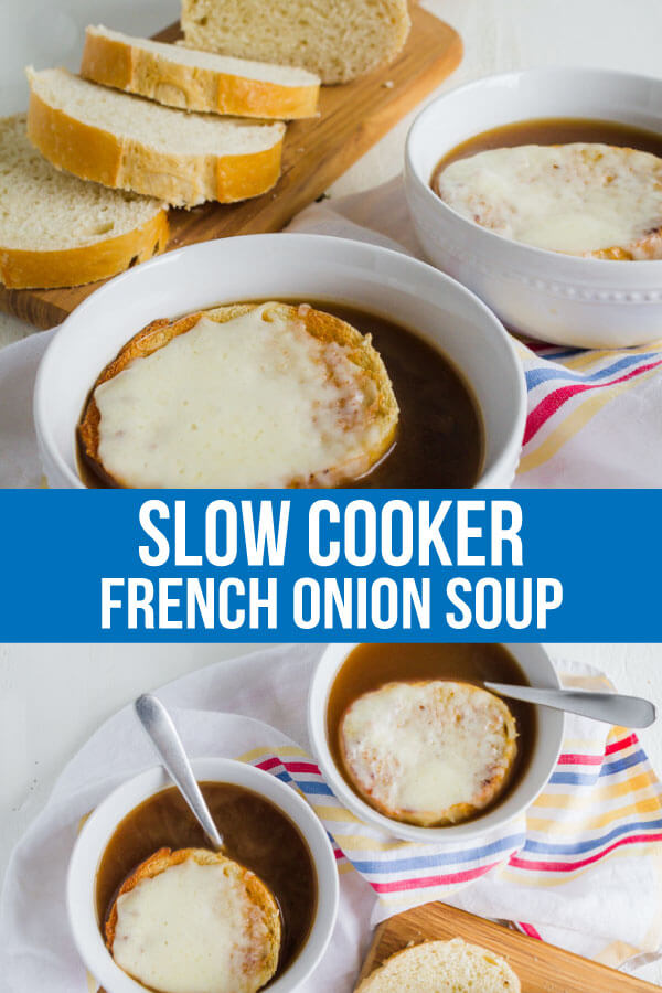 Slow Cooker French Onion Soup - it's time to whip out your crockpot and make one of your favorite soups! via www.thirtyhandmadedays.com