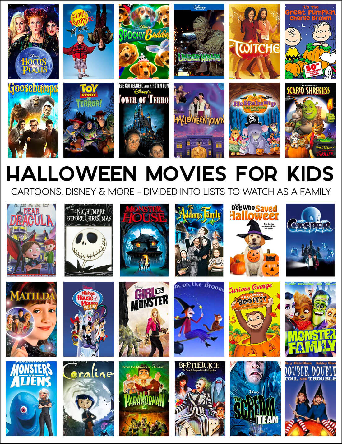 Halloween Movies for Kids - a whole list of fun movies to enjoy during the holidays.
