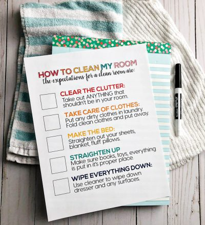 How to Clean Your Room - printable for kids to set expectations