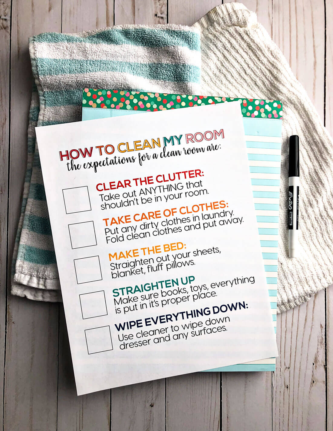 How to Clean Your Room - printable for kids to set expectations and teach them to clean.
