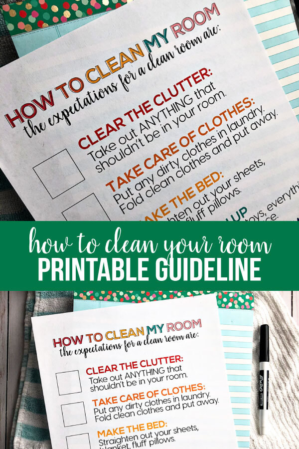 How to Clean Your Room - printable for kids to set expectations. www.thirtyhandmadedays.com
