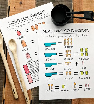 How many quarts in a cup? Get these kitchen conversions printables