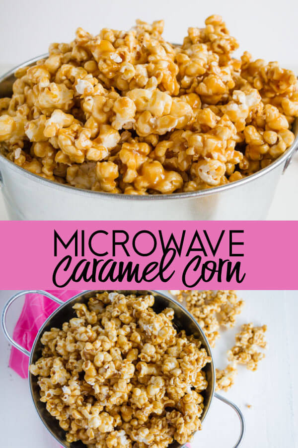 Microwave Caramel Corn - using ingredients you probably already have on hand, make this easy caramel corn.