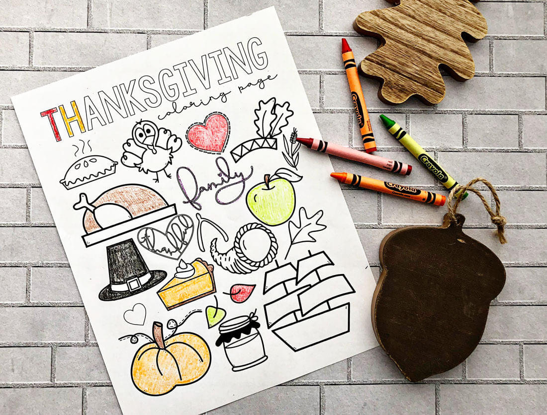 Happy Thanksgiving Coloring Page - free printable coloring page! from www.thirtyhandmadedays.com