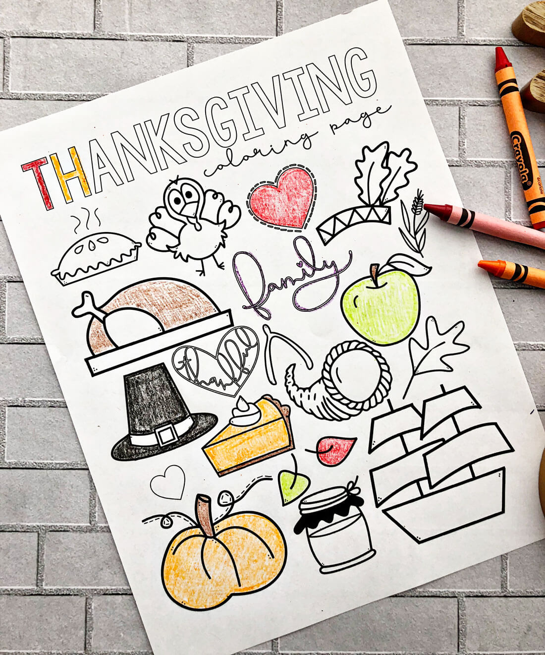 photograph relating to Thanksgiving Printable Coloring Pages identified as Delighted Thanksgiving Coloring Webpage