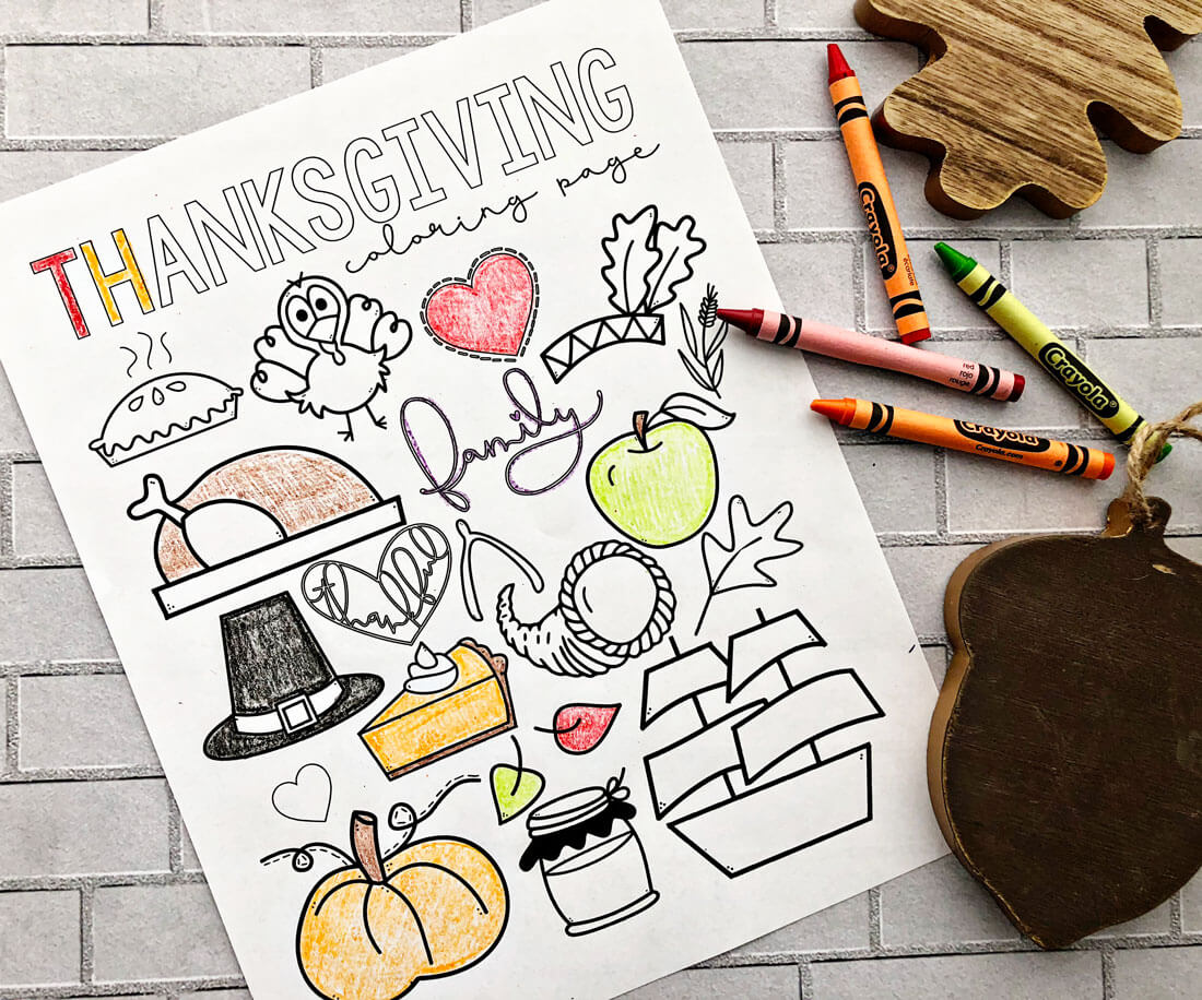 Happy Thanksgiving Coloring Page - free printable coloring page! www.thirtyhandmadedays.com