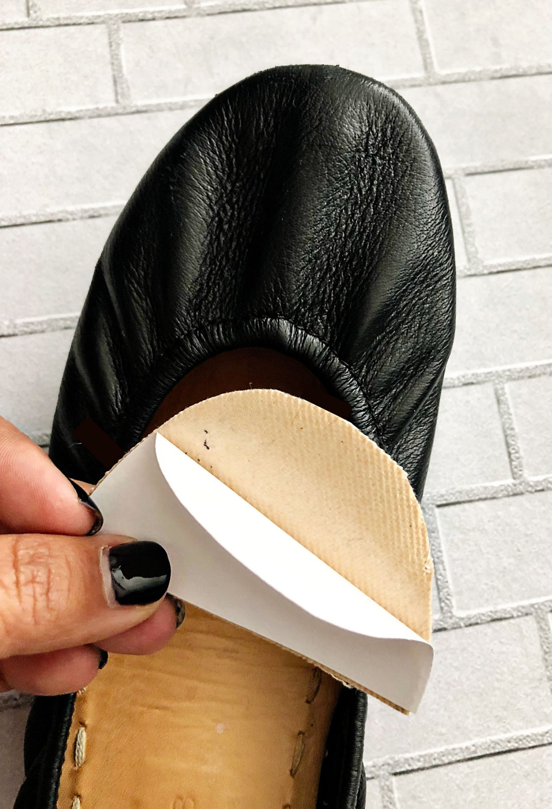 Putting the moleskin on Tieks shoes