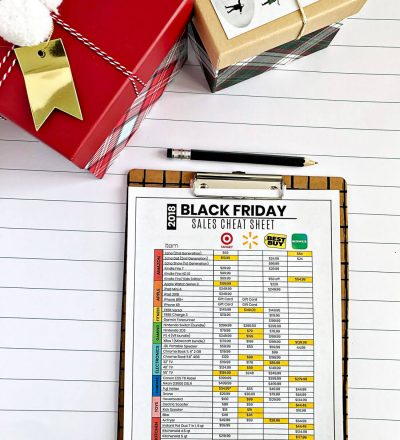 Printable Black Friday Sales Cheat Sheet - use this sheet to find the best deals.