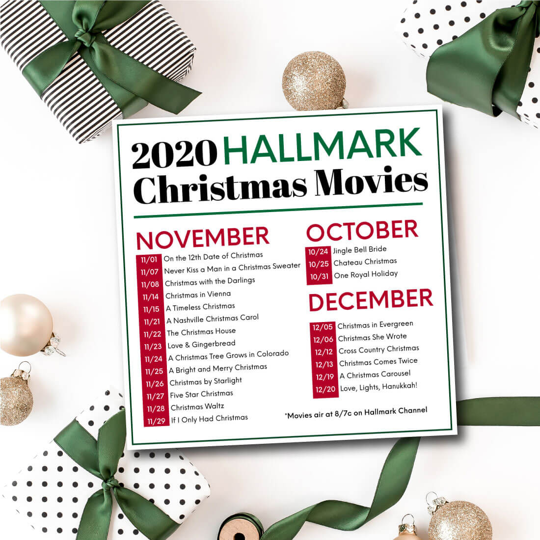 Hallmark Christmas Movies for 2020