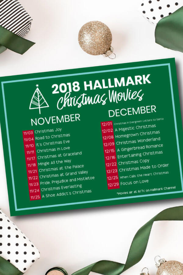 Hallmark Christmas Movies - download this printable schedule