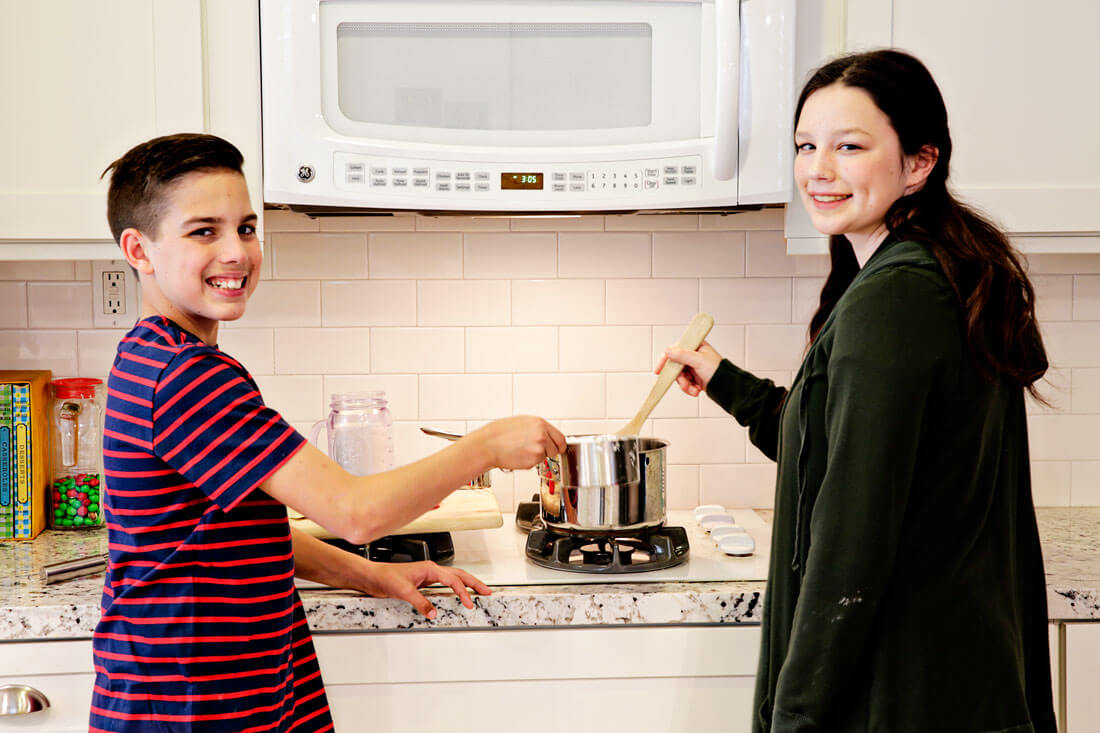 Kids cooking in the kitchen for the holidays.