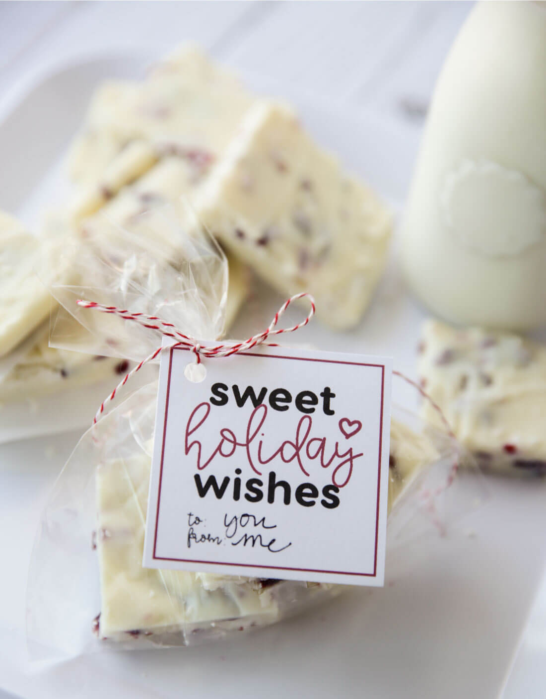 Sweet Holiday Wishes tags with White Christmas Fudge. Download at www.thirtyhandmadedays.com