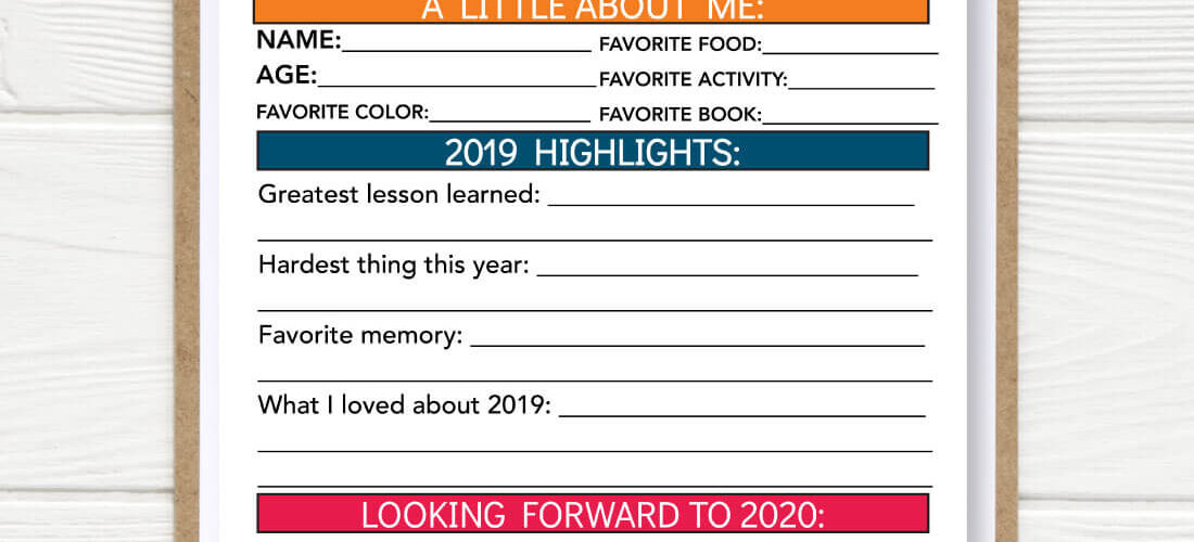 Printable New Year Resolution for Kids 2020