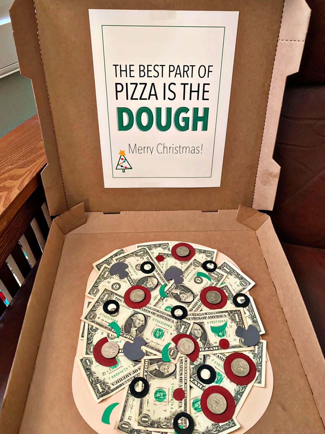 Pizza money gift idea - perfect for a last minute gift.