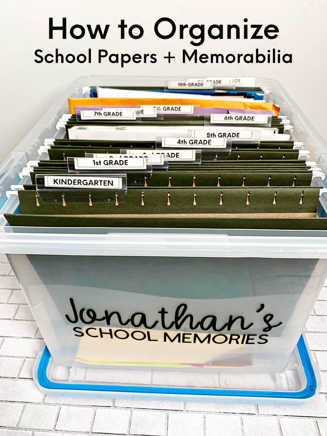 How to organize school papers and memorabilia with printables from www.thirtyhandmadedays.com
