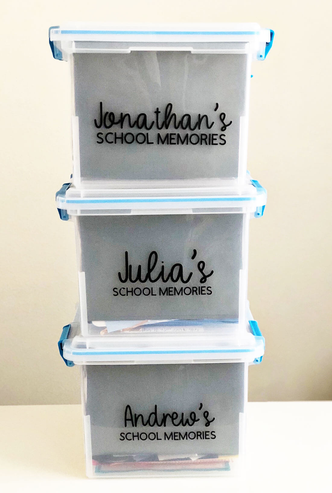 How to organize school papers and memorabilia for each child from www.thirtyhandmadedays.com