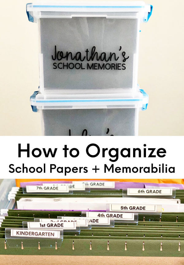 How to organize school papers and memorabilia for each of your kids. www.thirtyhandmadedays.com